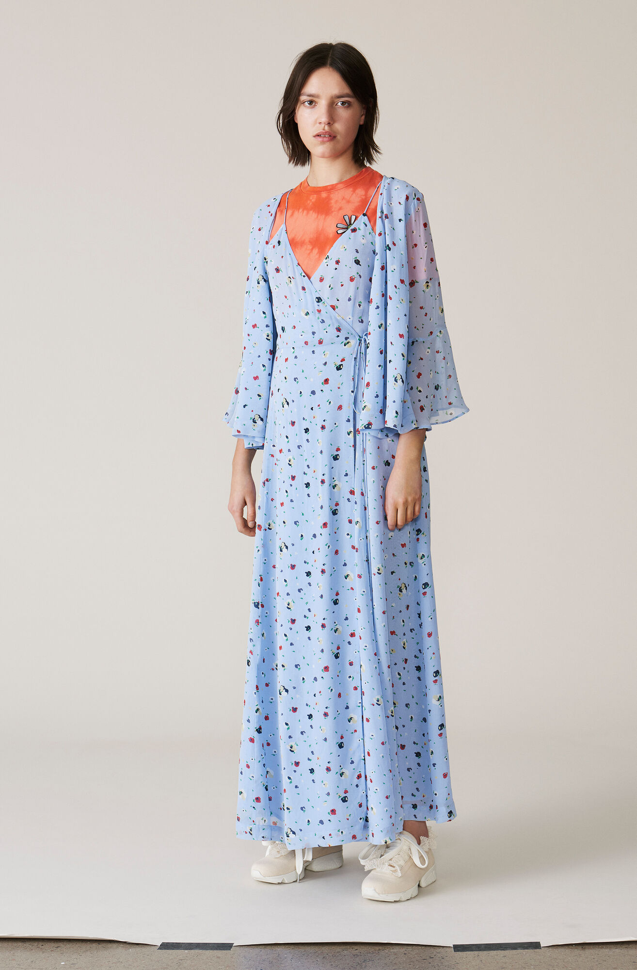 Dainty Georgette Strap Dress, Serenity Blue, hi-res