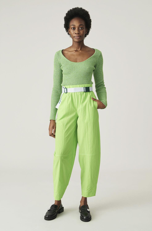 가니 바지 Ganni Cotton Crepe Pants,Flash Green
