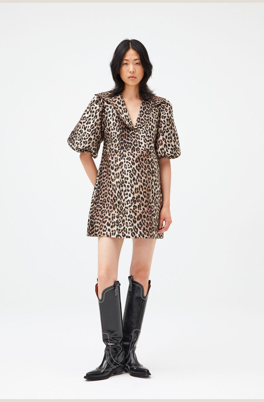 가니 레오파드 미니 원피스 Ganni Jacquard Mini Dress,Leopard