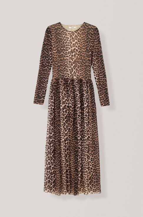 Printed Mesh Maxi Dress, Leopard, hi-res