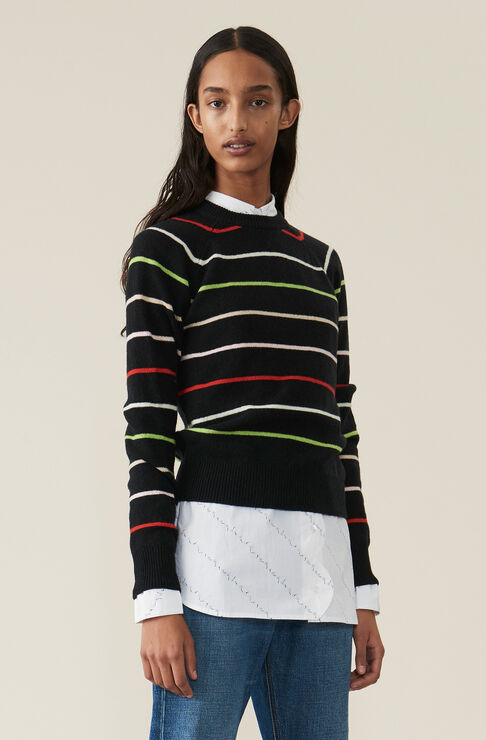 Wool Knit Pullover, Multicolour, hi-res