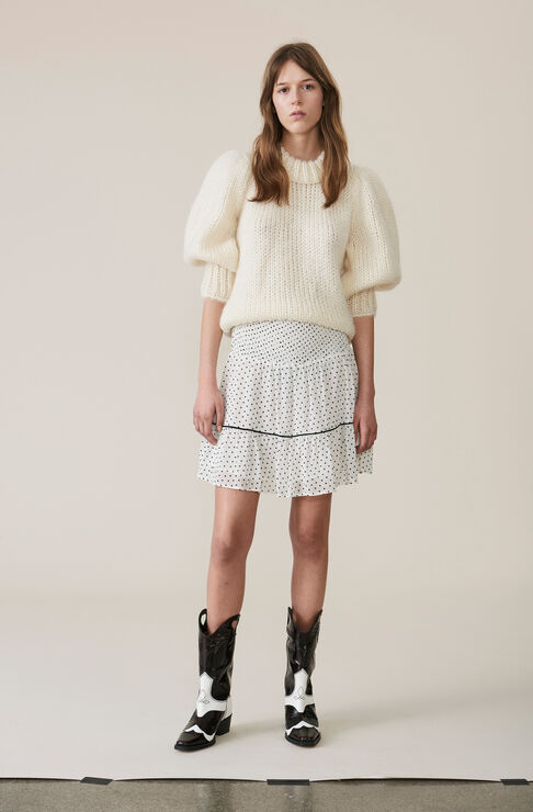 The Julliard Mohair Puff Sleeve Pullover, Egret, hi-res