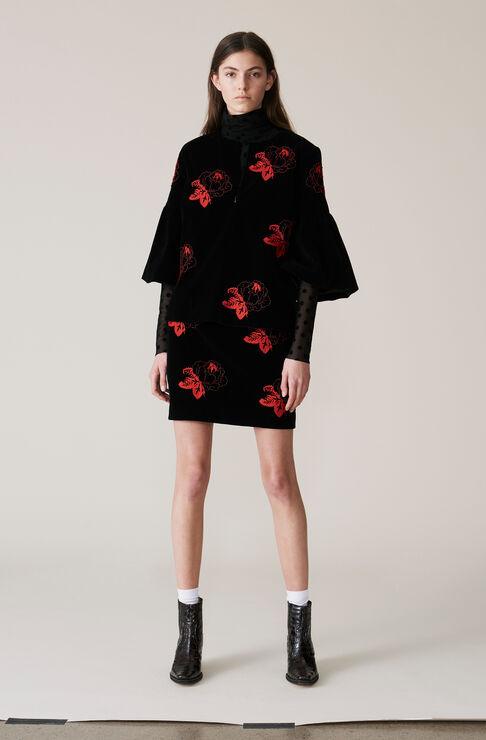 Jermyn Velvet Mini Skirt, Black, hi-res