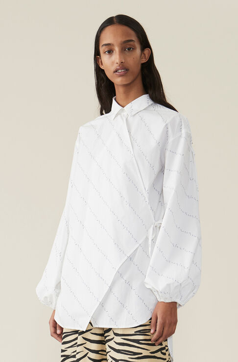 Printed Cotton Poplin Wrap Skjorte, Bright White, hi-res