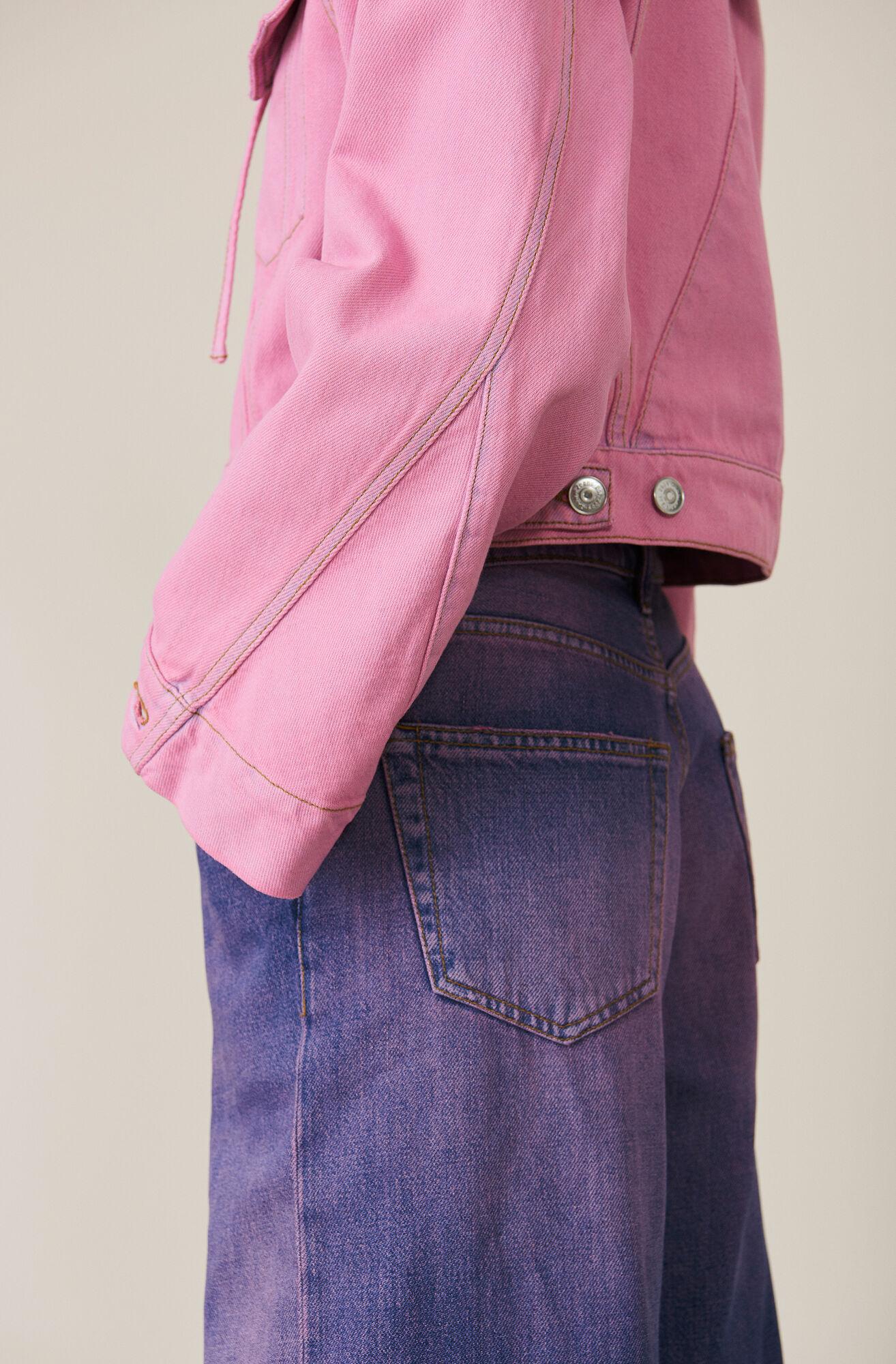 Denim Hooded Jakke, Pink Overdye, hi-res