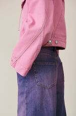 Denim Hooded Jacket, Pink Overdye, hi-res