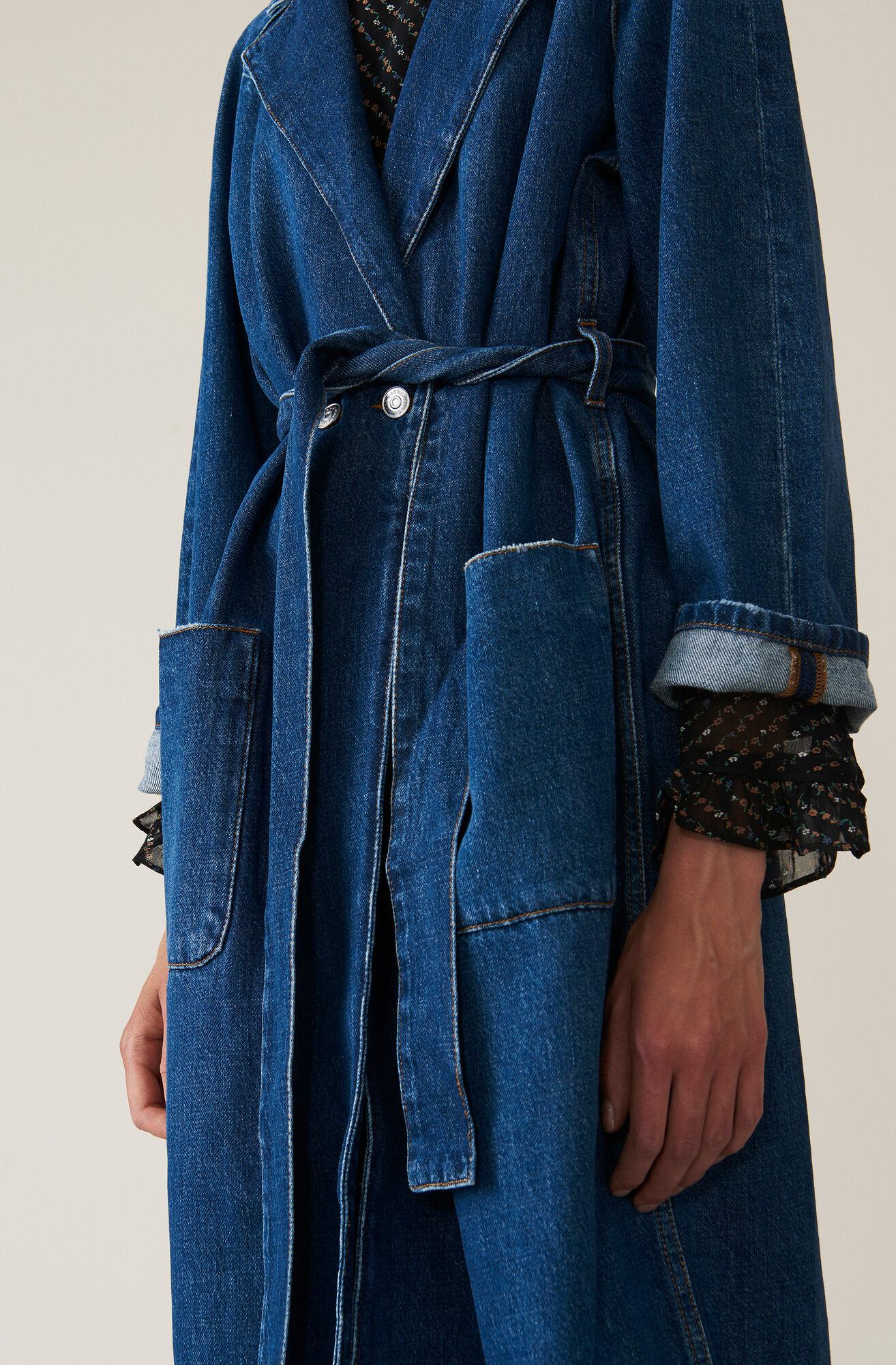 Washed Denim Wrap Coat, Medium Dark Denim, hi-res