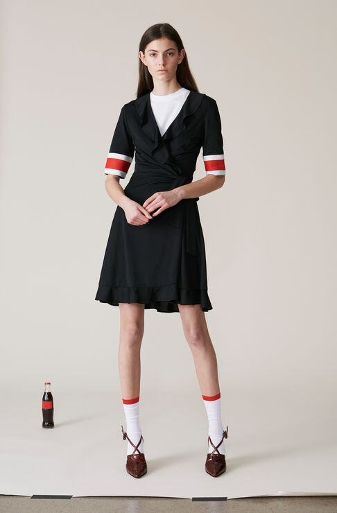 Dubois Polo Wrap Dress, Black, hi-res