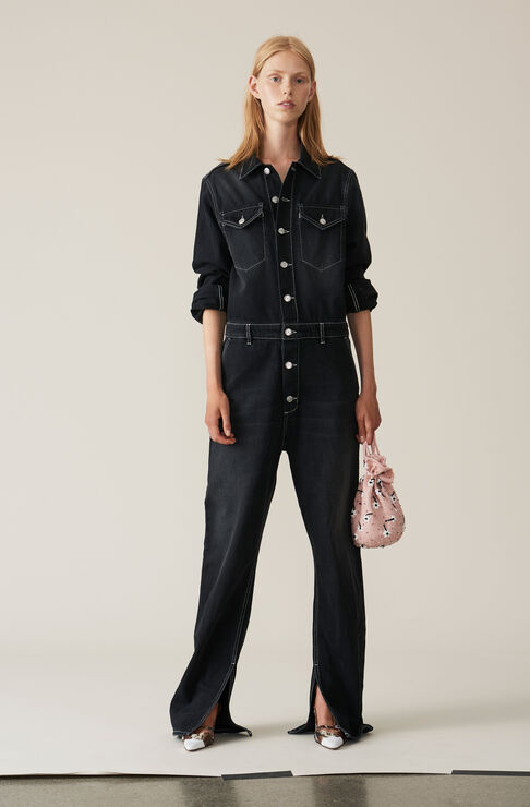 Black Washed Denim Jumpsuit, Black Washed, hi-res