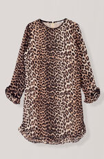 Printed Georgette Kjole, Leopard, hi-res