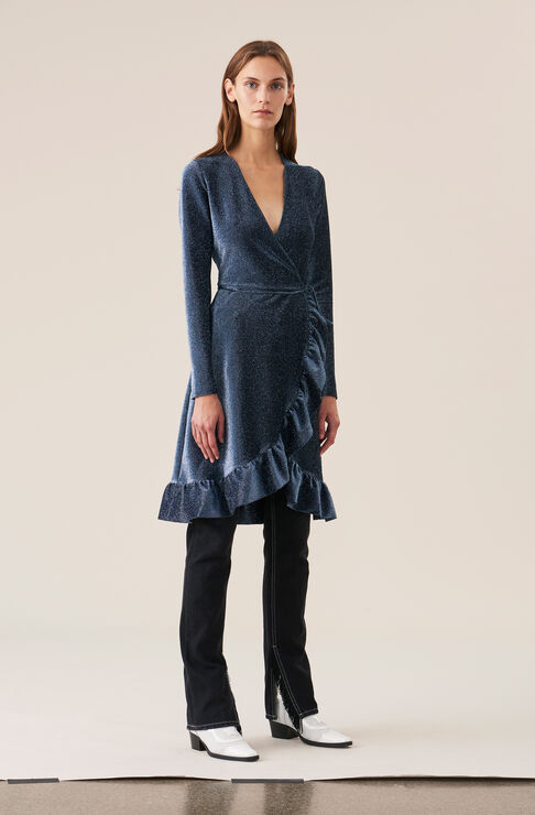 Lurex Jersey Wrap Dress, Serenity Blue, hi-res
