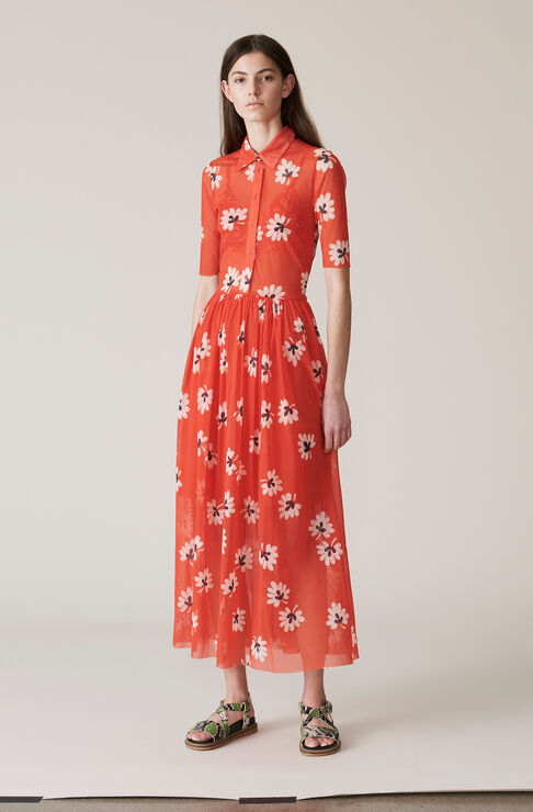 Tilden Mesh Maxi Dress, Big Apple Red, hi-res