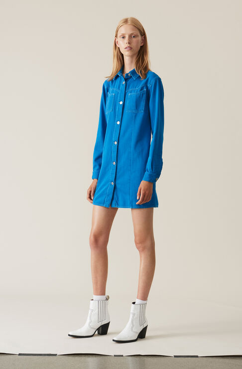 Soft Denim Shirt Dress, Lapis Blue Overdyed, hi-res