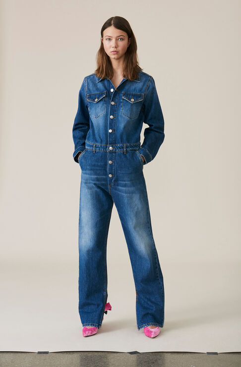 Denim Jumpsuit, Medium Dark Denim, hi-res