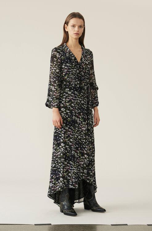 61bc732b7919 Printed Georgette Wrap Dress