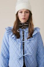 Printed Cotton Poplin Jacke, Serenity Blue, hi-res