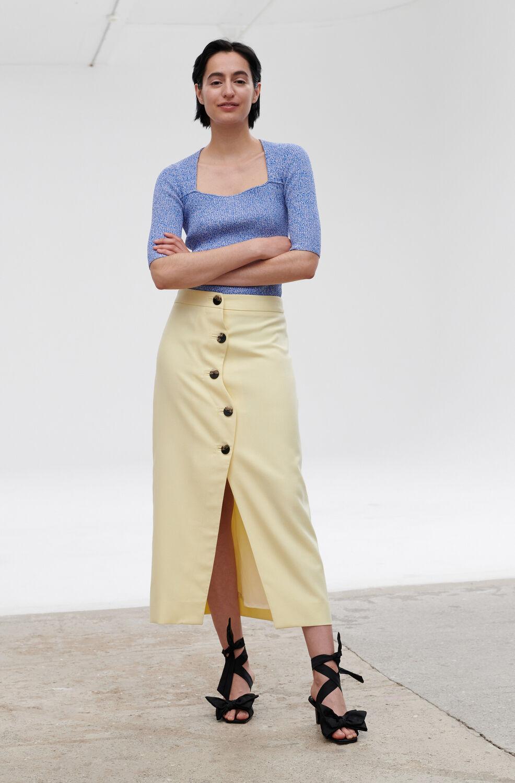 Ganni Summer Suiting High-Waisted Asymmetrical Midi Skirt,Pale Banana