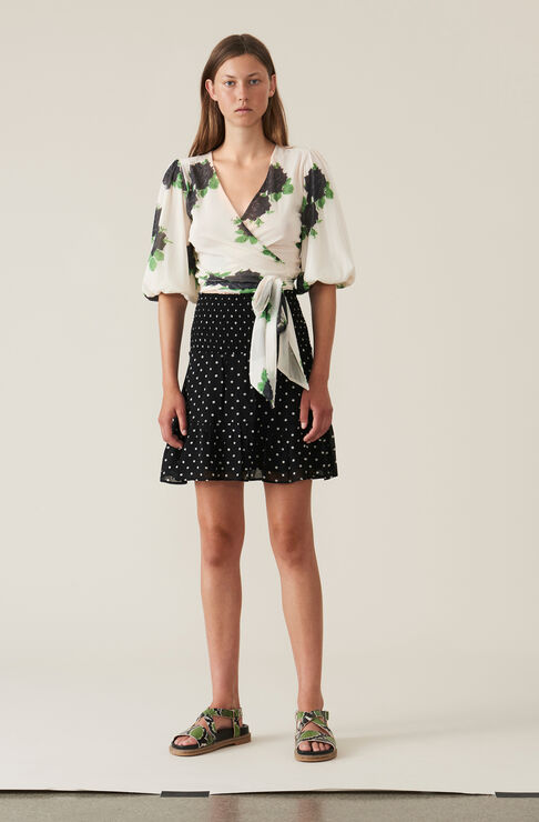 Merton Georgette Mini Skirt, Black, hi-res
