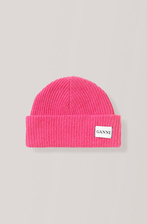 Knit Hat, Hot Pink, hi-res