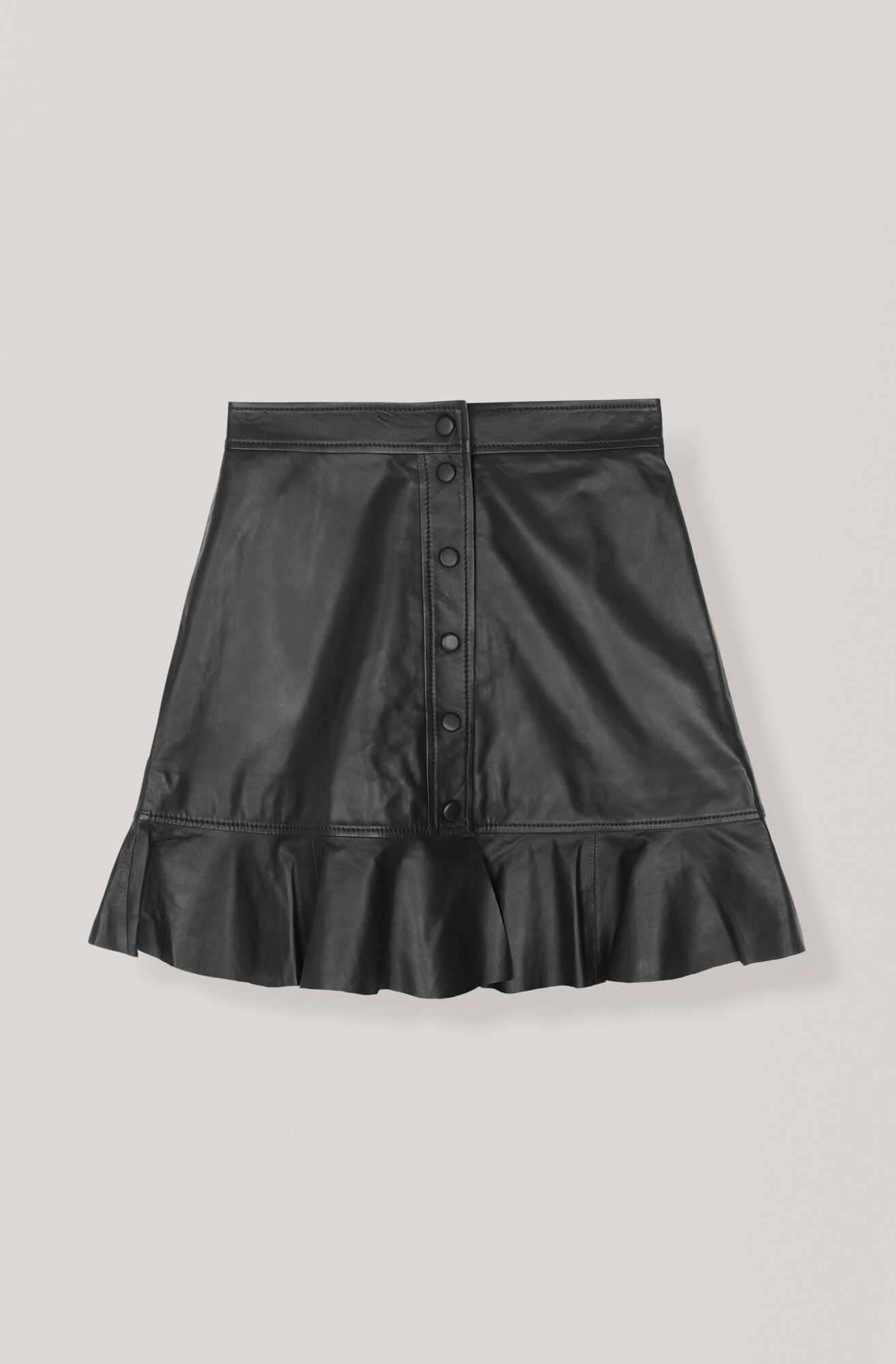 Thin Lamb Leather Skirt, Black, hi-res