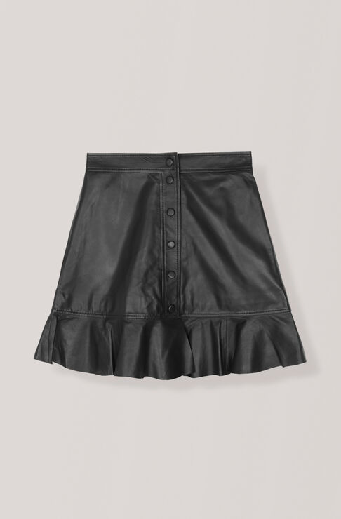 Thin Lamb Leather Skirt, Black, hi-res