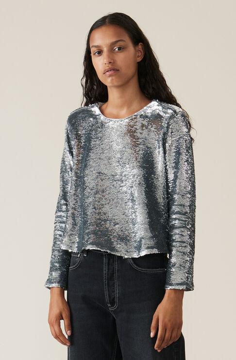 Sequins Blouse, Silver, hi-res