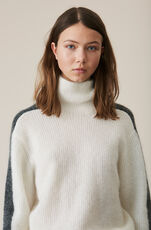 Soft Wool Knit Rullekrage, Egret, hi-res