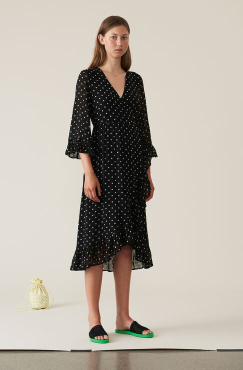 Merton Georgette Wrap Dress, Black, hi-res
