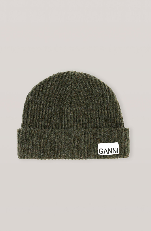 가니 울 니트 비니 Ganni Recycled Wool Knit Hat,Kalamata
