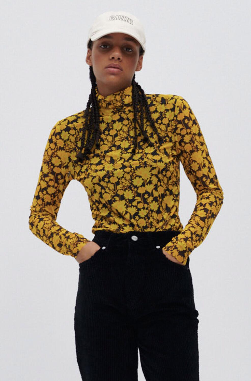 가니 티셔츠 Ganni Recycled Nylon Turtleneck Sheer Long-Sleeve Tee,Spectra Yellow