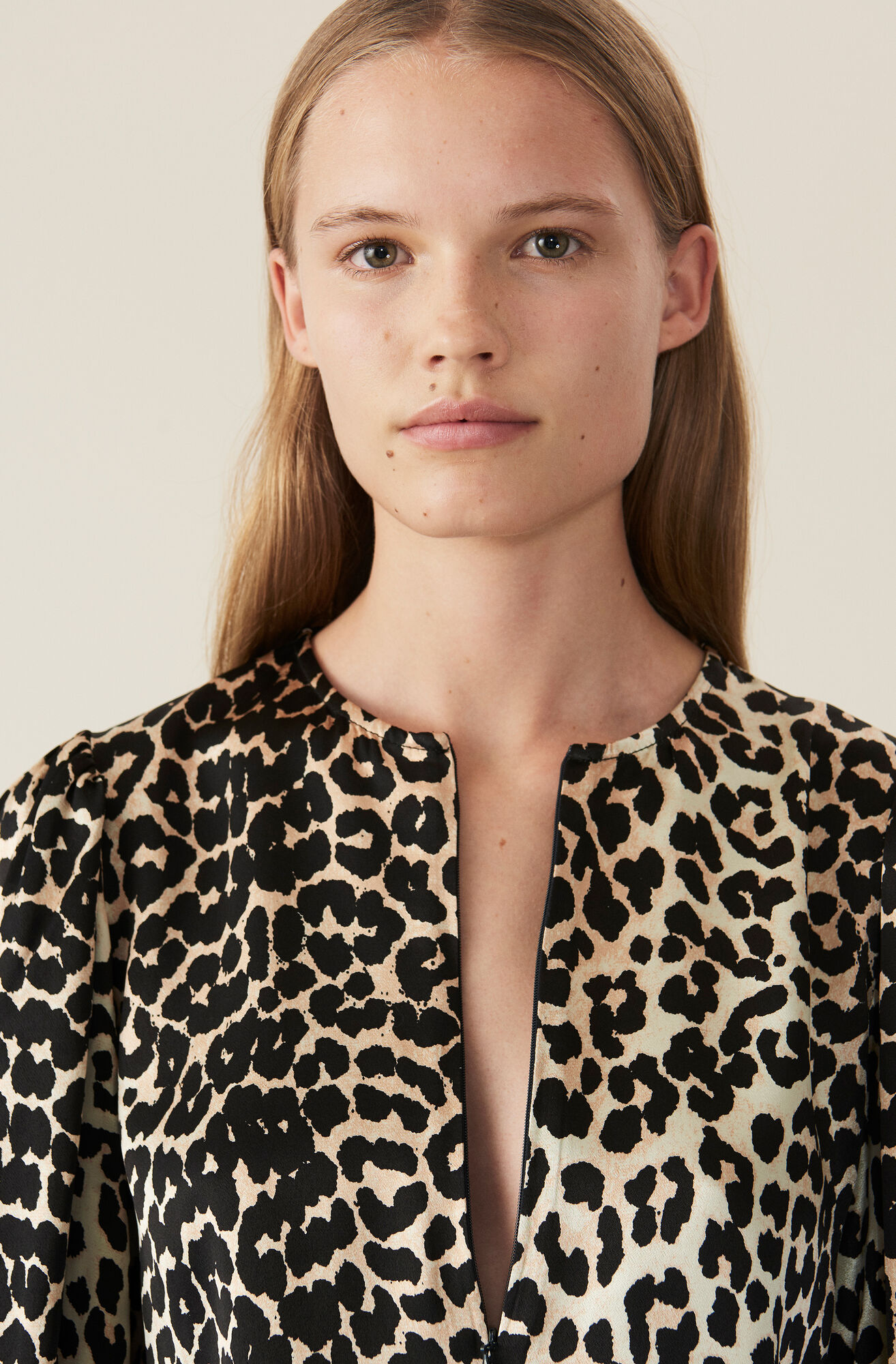 Heavy Satin Blouse, Leopard, hi-res
