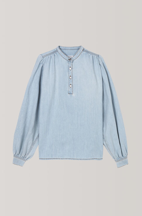 Soft Denim Blouse, Bleached Denim, hi-res