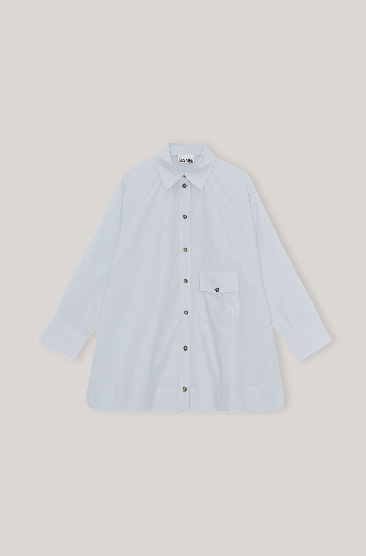 가니 오버사이즈 셔츠 Ganni Cotton Poplin Cotton Poplin Raglan Sleeve Oversize Shirt,Heather