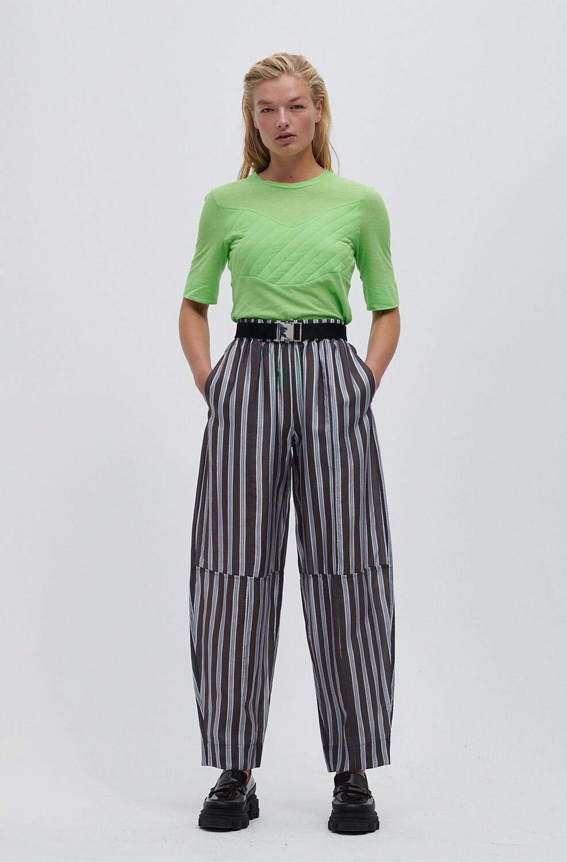 가니 바지 Ganni Lightweight Stripe Pants,Phantom