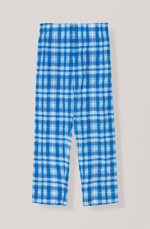 Seersucker Check Bukser, Lapis Blue, hi-res