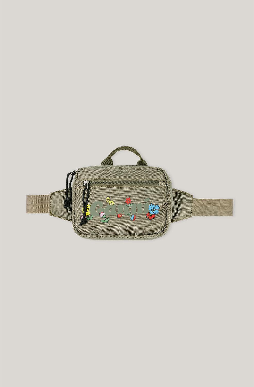 가니 벨트백 Ganni Recycled Nylon Waist Bag,Kalamata