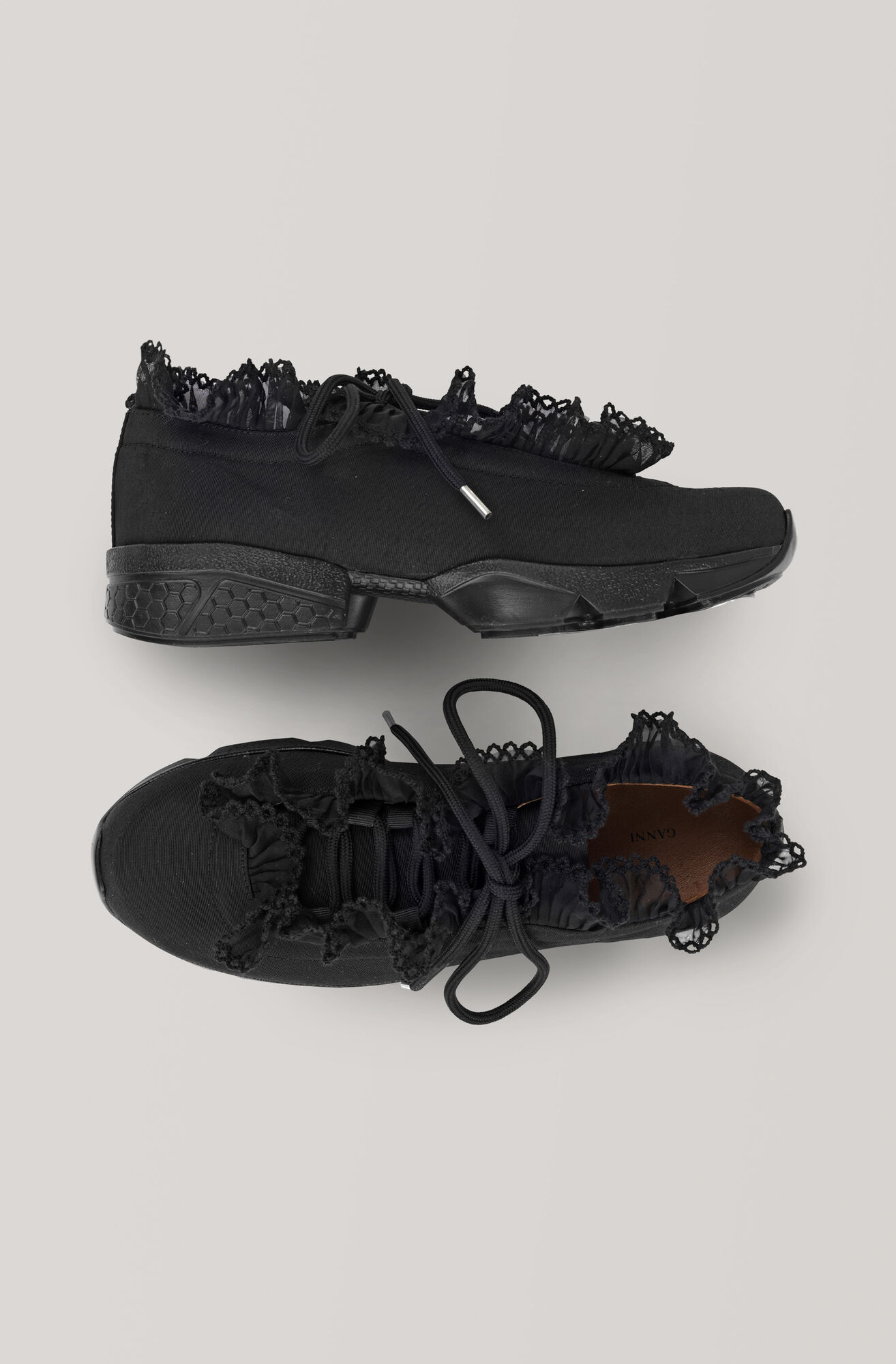 Lace Detailed Sneakers, Black, hi-res