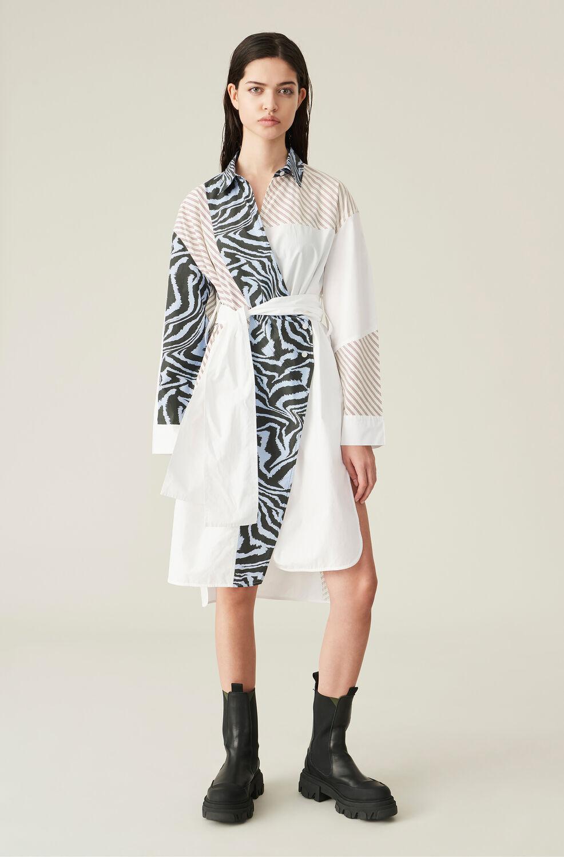 가니 랩 셔츠 원피스 Ganni Cotton Poplin Patchwork Wrap Shirt Dress,Mixed Colours