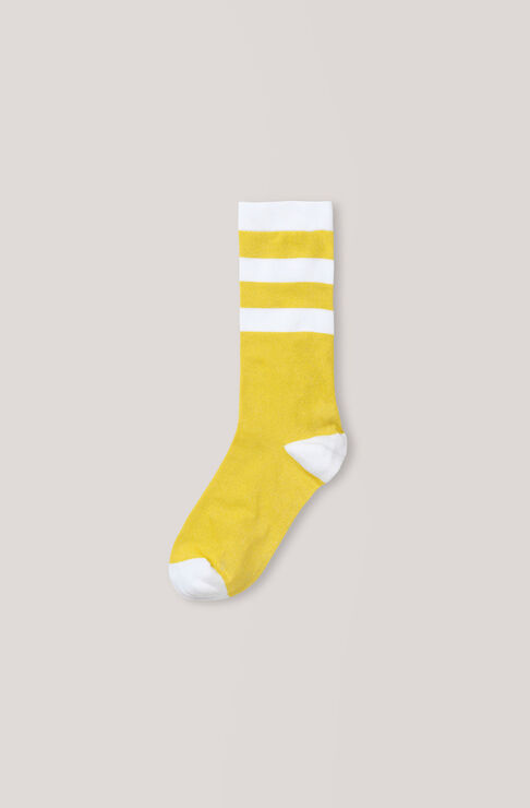 Stripes Ankle Socks, Lemon, hi-res