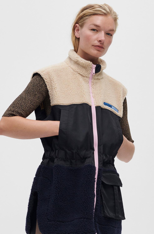 가니 플리스 집업 조끼 Ganni Fleece Nylon Vest,Black
