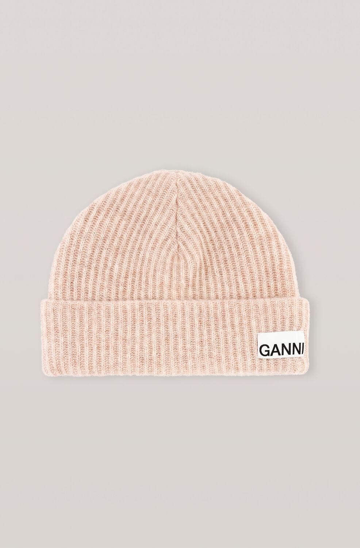 가니 울 니트 비니 Ganni Recycled Wool Knit Hat,Brazilian Sand