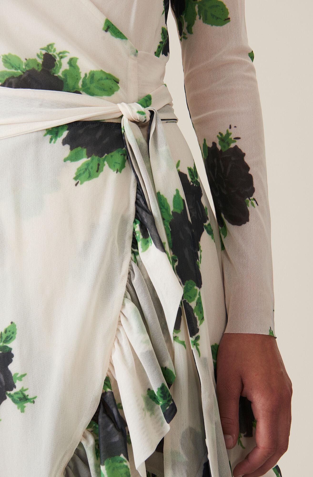 Printed Mesh Wrap Dress, Vanilla Ice, hi-res
