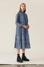 Printed Cotton Poplin Dress, Serenity Blue, hi-res