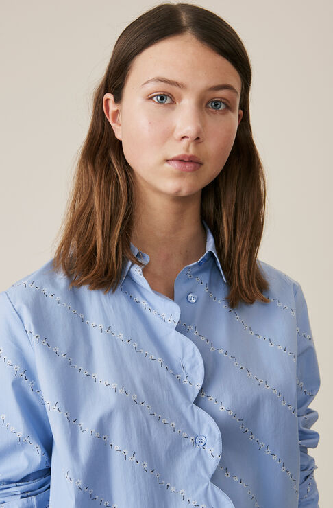 Printed Cotton Poplin Skjorte, Serenity Blue, hi-res