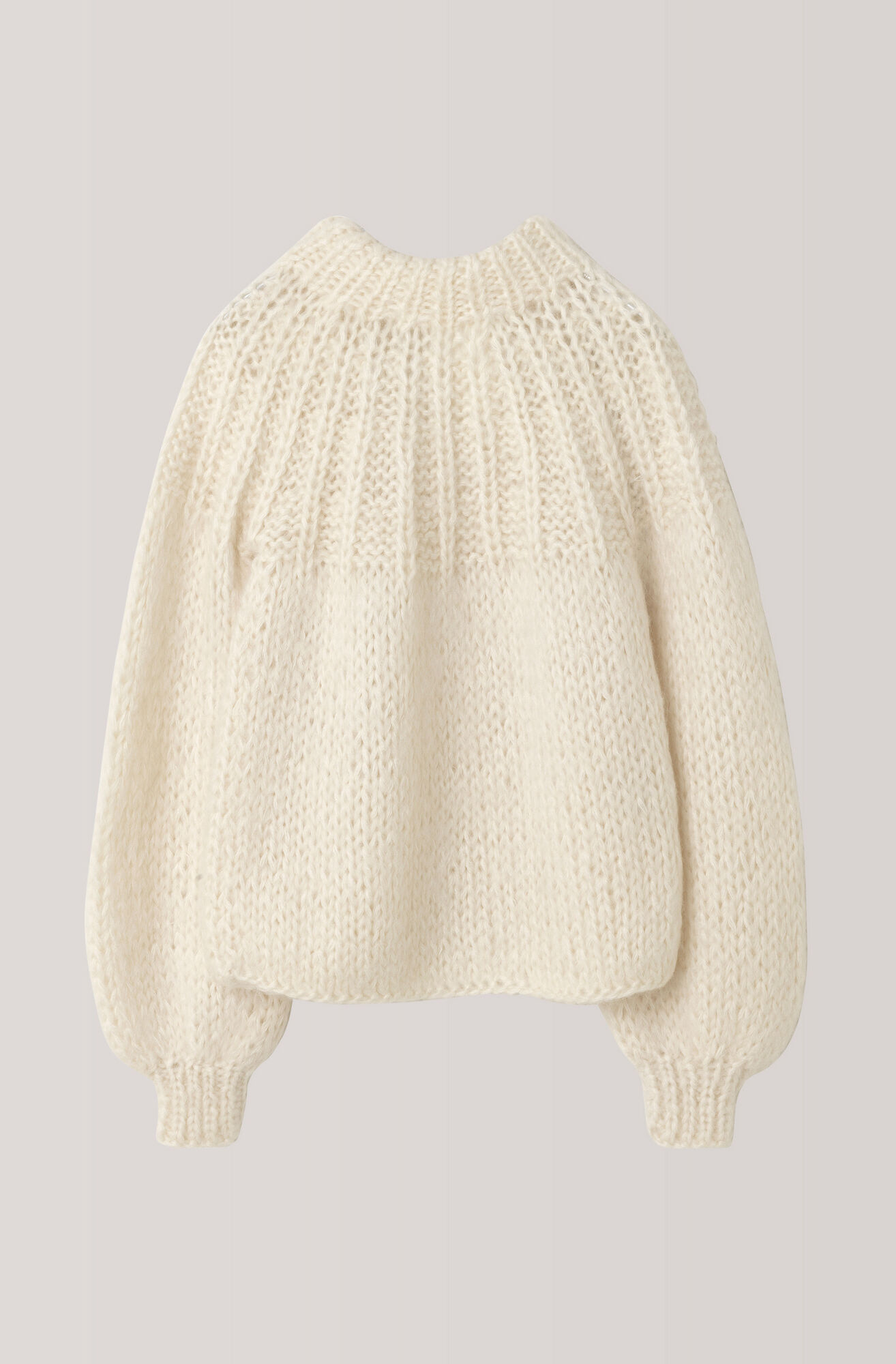 Hand Knit Wool Bow Pullover, Vanilla Ice, hi-res