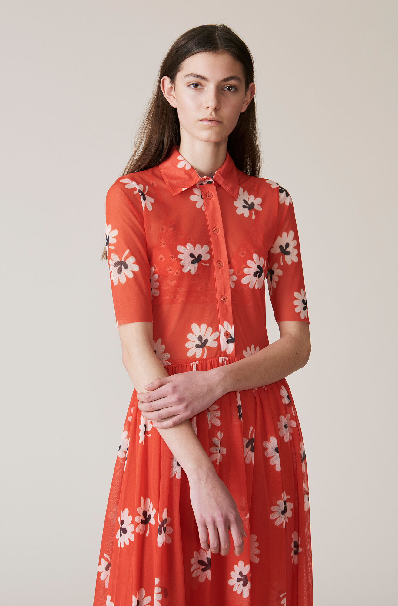 Printed Mesh Maxi Dress, Big Apple Red, hi-res