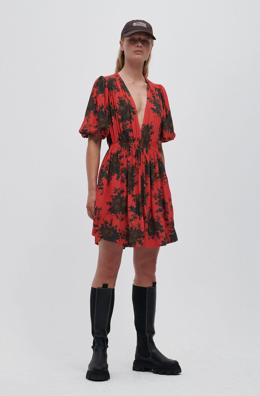 가니 원피스 Ganni EcoVero V-Neck Mini Dress,High Risk Red