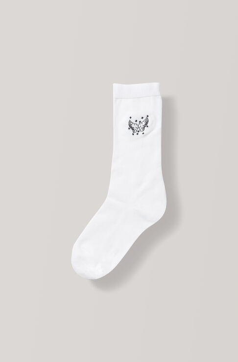 Embroidery Ankle Socks, Wings, Egret, hi-res