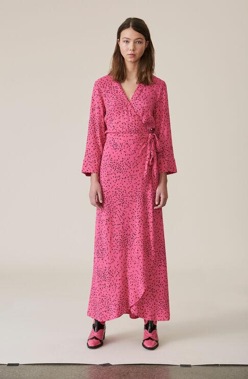 Barra Crepe Wrap Dress, Hot Pink, hi-res
