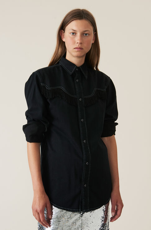 Soft Denim Shirt, Black Washed, hi-res